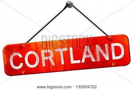 cortland, 3D rendering, a red hanging sign