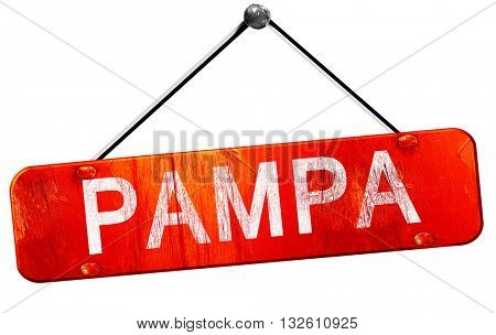 pampa, 3D rendering, a red hanging sign