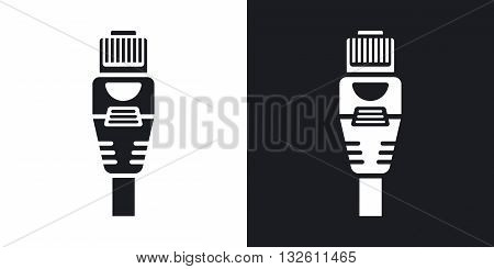 Vector Ethernet Connector with Cable icon. Two-tone version of Ethernet Connector with Cable simple icon on black and white background