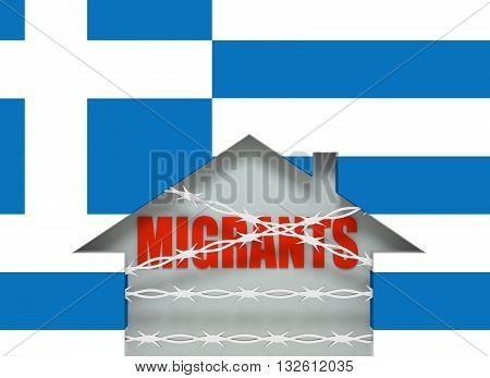 Image relative to migration to European Union. Barbed wire closed home icon textured by Greece flag. 3D rendering