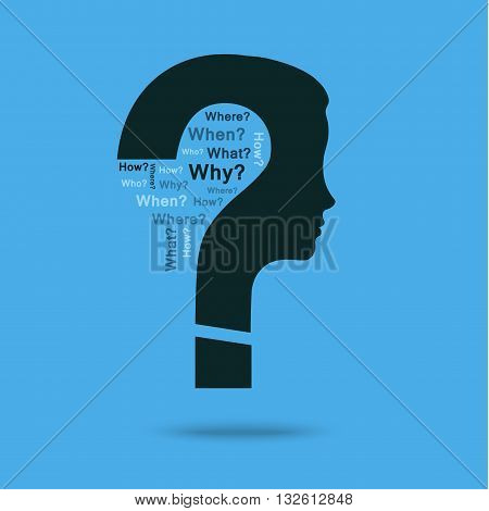 Concept of question. Question mark with woman head symbol and question words. Flat design, vector illustration.