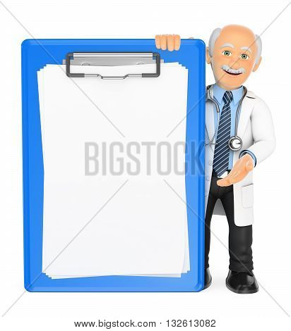 3d medical people illustration. Doctor with a blank clipboard. Isolated white background.