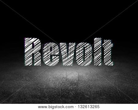 Political concept: Glowing text Revolt in grunge dark room with Dirty Floor, black background