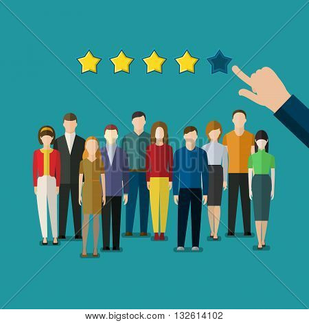 Concept of evaluation of the team. Flat design vector illustration.