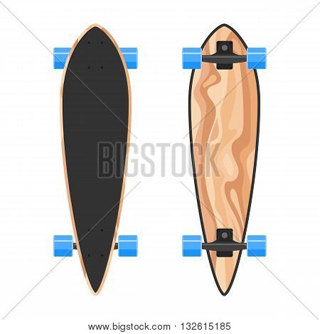 Wood longboard two sides. Vector Illustration isolated on white background. Flat colorful sign for web site design or print