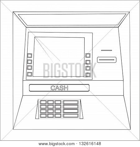 Bankomat vector graphic illustration. ATM machine for operations with money front view.