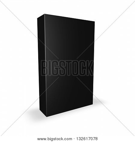Black product box with blank cover isolated on white with shadow 3D illustration.