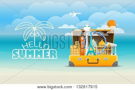 Summer vacation illustration. Vector travel illustration