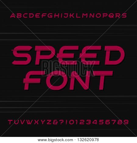 Speed alphabet vector font. Oblique letters and numbers on a dark background. Stock vector typeface for your design.