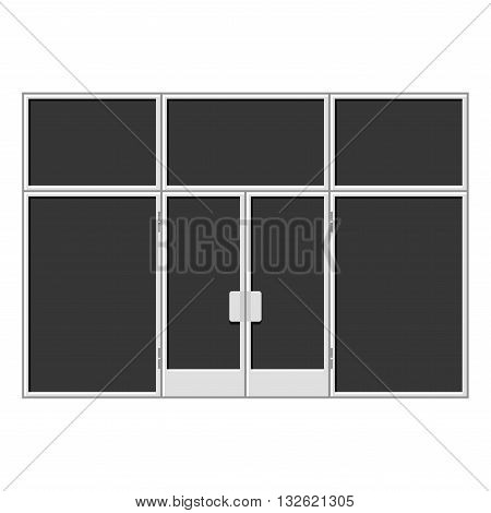 White Shopfront with Large Black Blank Windows. Vector illustration