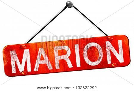 marion, 3D rendering, a red hanging sign