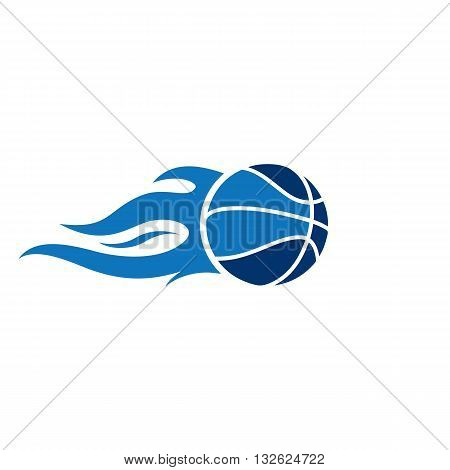 Blue basketball with fire trail vector illustration isolated on white background.