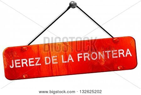 Jerez de la frontera, 3D rendering, a red hanging sign