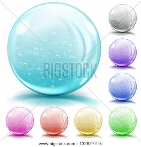Multicolored Opaque Glass Spheres With Air Bubbles