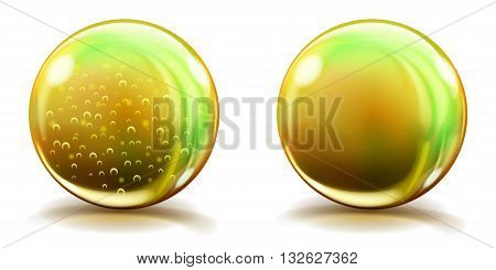 Big Yellow Glass Spheres With Air Bubbles And Without