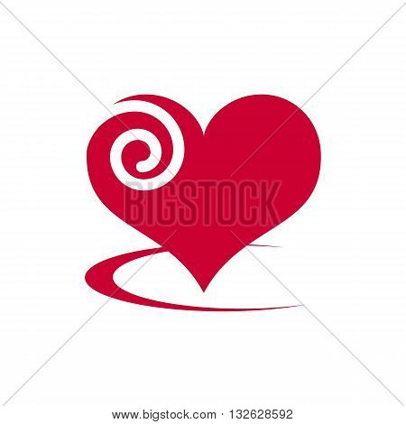 Beautifull stylized red abstract heart vector illustration isolated on white background.