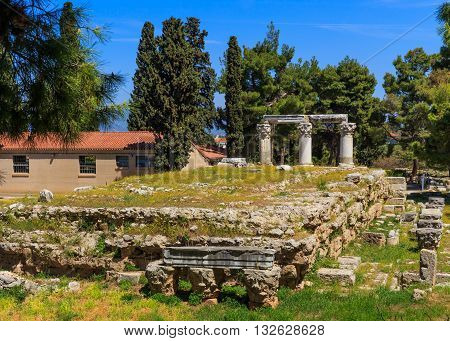 ruins of temple E in Ancient Corinth, Peloponnes