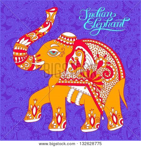 original indian pattern with elephant and handwritten inscription for invitation, cover design, fabric pattern or page decoration, ethnic border on vintage flower background, vector illustration