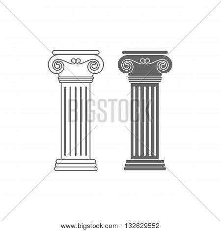 Two line drawing ionic columns vector illustration isolated on white background.