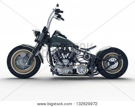Custom isolated motorcycle on a white background. 3D illustration