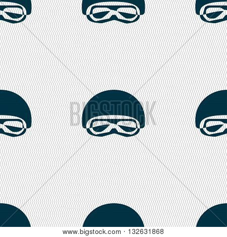 In A Ski Masks, Snowboard Ski Goggles, Diving Mask Icon Sign. Seamless Pattern With Geometric Textur