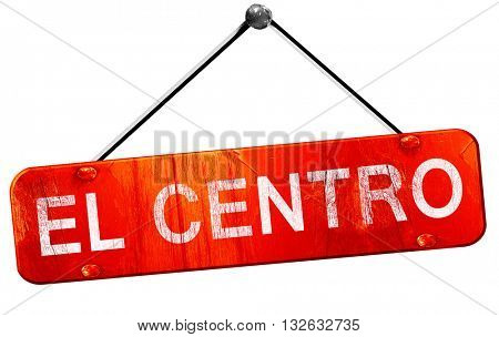 el centro, 3D rendering, a red hanging sign