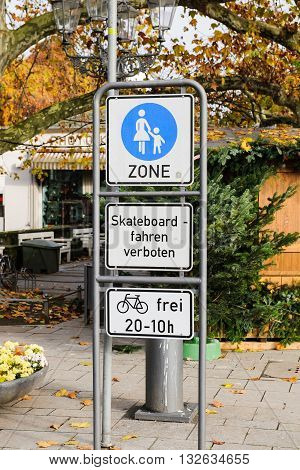 No car zone family zone with skateboard restricted acces on the streets of Germany