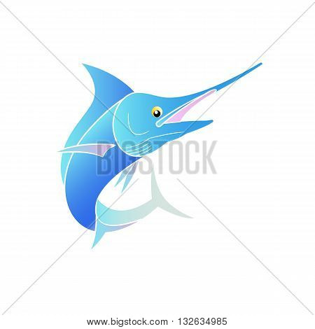 Beautiful cute cartoon style stylized blue colorful swordfish vector illustration isolated on white background.