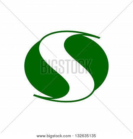 Green travel road line drawing like letter s road vector illustration isolated on white background.