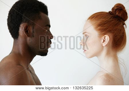 Deep Connection Between Two Young People Of Different Races Looking At Each Other With Pure Uncondit