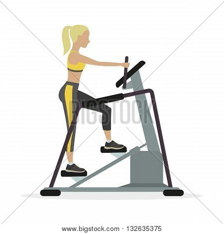 Woman workout on stepper on a white background. Vector.