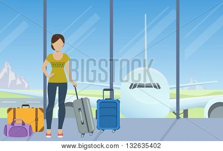 Tourist with luggage waiting for check-in at the airport. Vector.