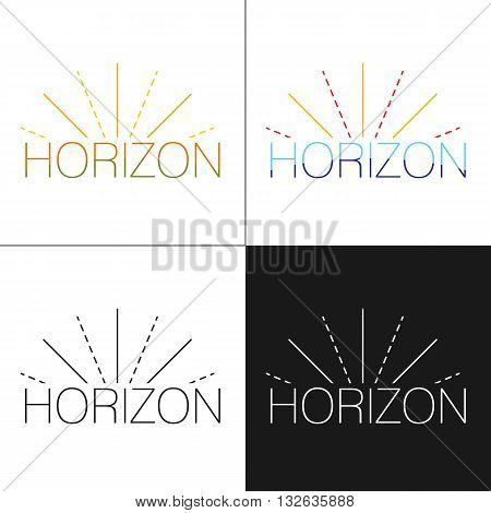 Abstract horizon logo template with sun beams in four variations black white and colorful designs. Logo design template. Vector illustration.