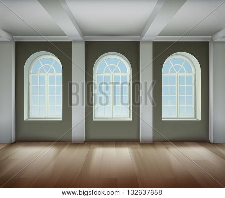Room With Arched Windows Background. Empty Room Interior Vector Illustration. Arched Windows Design. Room Interior Realistic Decorative Illustration.