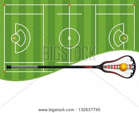 A lacrosse field with a lacrosse stick and ball and room for copy. Vector EPS 10 available. poster
