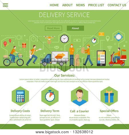 Delivery service and courier page with description of services including costs term special offers and call a courier flat vector illustration
