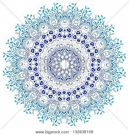 Vector mandala ornament. Round floral pattern. Hand drawn decorative element. Ornament round mandala frame. Geometric circle element, vector. blue teal white isolated.