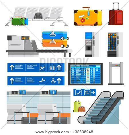 Airport interior flat color decorative icons set with portmanteaus suitcases checkpoint schedule scoreboard escalator isolated vector illustration