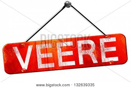 Veere, 3D rendering, a red hanging sign