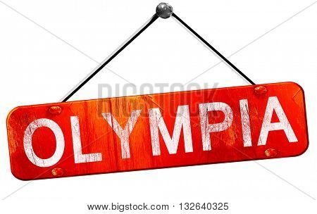 olympia, 3D rendering, a red hanging sign