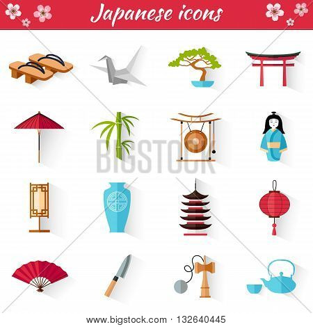 Japanese Set of icons in flat style. Vector illustration. A collection of symbol in oriental style. Thumbnails for web design.