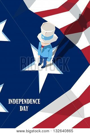 Uncle Sam Cylinder Hat United States Flag Happy Independence Day American Holiday Vector Illustration