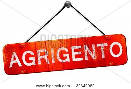 Agrigento, 3D rendering, a red hanging sign