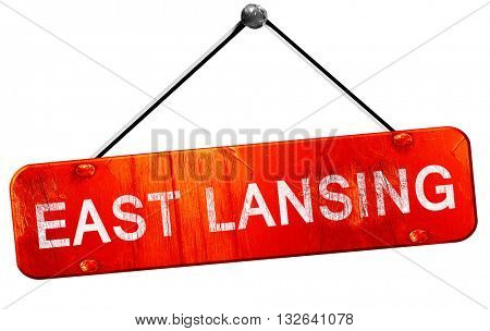 east lansing, 3D rendering, a red hanging sign
