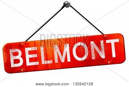 belmont, 3D rendering, a red hanging sign