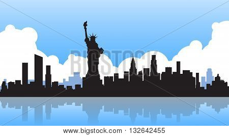 Liberty Statue Silhouette United States New York City View Vector Illustration