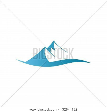 Stylized blue mountains sign vector illustration isolated on white background.