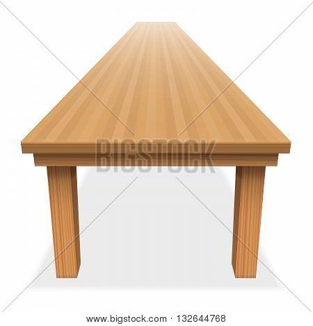 Very long empty wood table - for festive banquet or the like - perspective view from above - isolated vector illustration on white background.