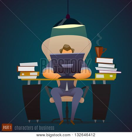 Businessman works hard at an office very late. Vector illustration