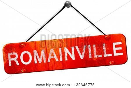romainville, 3D rendering, a red hanging sign